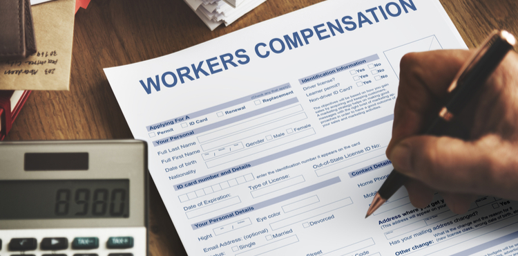 A workers' compensation form being filled out.