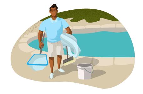 Man standing next to pool with net, bucket, and other supplies.