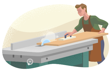 Man cutting a board on a table saw.