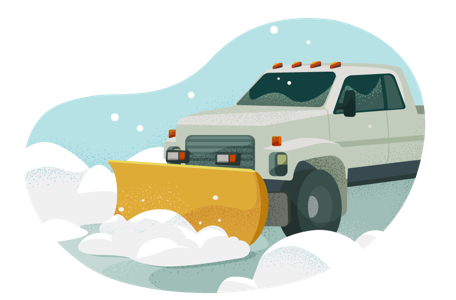Truck with snow plow clearing a road.