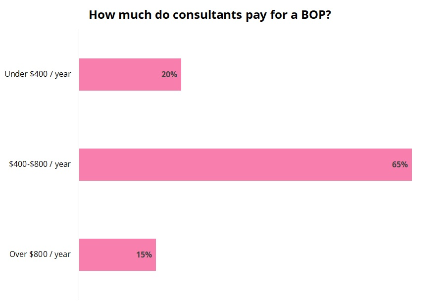 Cost of a business owner's policy for consultants.