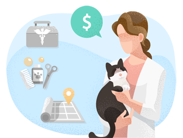 Woman holding cat considering costs of pet services.