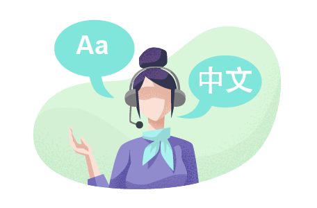 Woman on a headset translating languages.