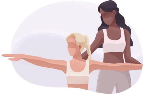 Yoga instructor showing student a pose.