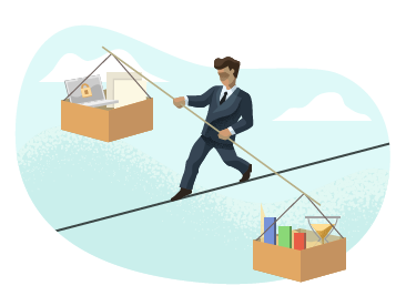 Businessperson balancing boxes on a tightrope.
