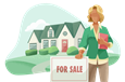Real estate agent in front of home for sale